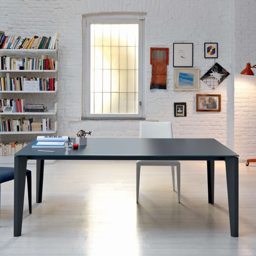 Contemporary dining table / lacquered wood / glass / steel DIAMANTE Castellani.it srl