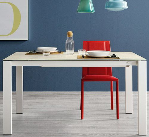 Contemporary dining table / lacquered wood / glass / aluminum BADÙ_XL Castellani.it srl