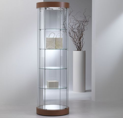 contemporary display case / with legs / glass / oak