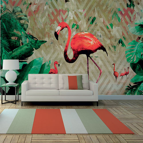 Contemporary wallpaper / fabric / vinyl / animal motif FLAMINGO BAY Skinwall
