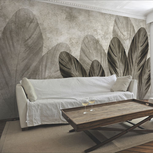Contemporary wallpaper / fabric / vinyl / nature pattern FLYING LEAVES Skinwall