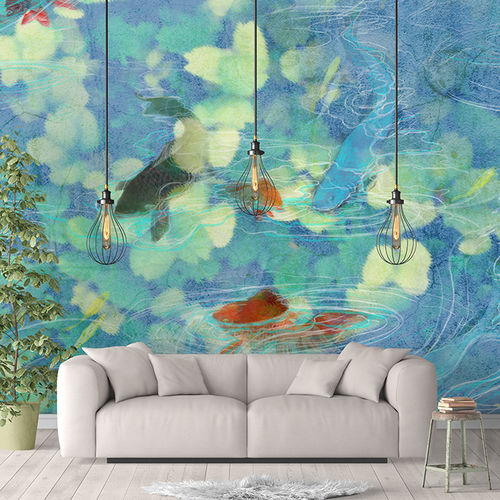 Contemporary wallpaper / fabric / vinyl / animal motif KOI Skinwall