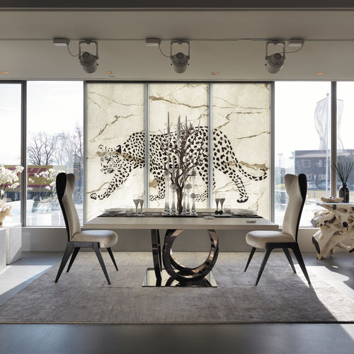 glass decorative panel / marble / wall-mounted / backlit