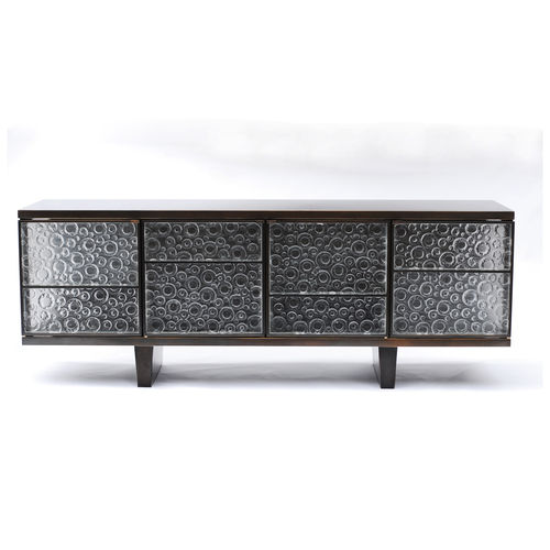 contemporary sideboard / glass / brass