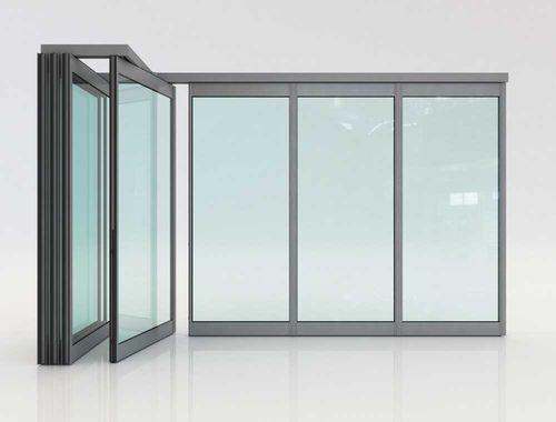 folding partition / aluminum / double-glazed / professional