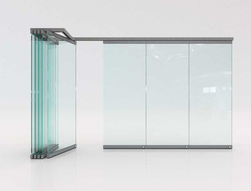 folding partition / aluminum / glass / residential