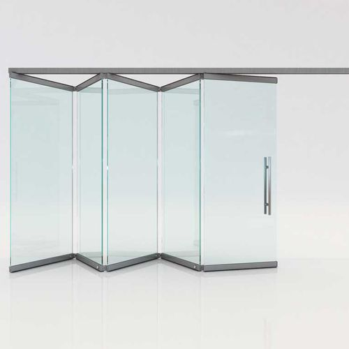 folding partition / aluminum / glass / professional