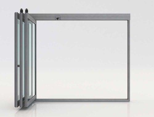 folding partition / aluminum / glazed / professional