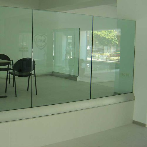 glass railing / aluminum / glass panel / indoor