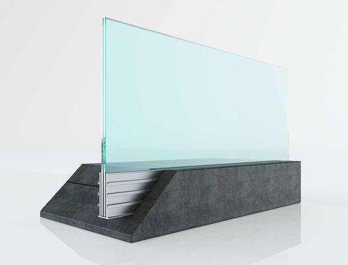 glass railing / aluminum / glass panel / indoor