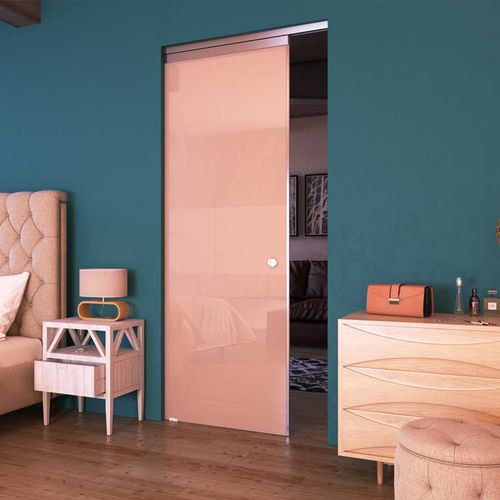 indoor door / sliding / glass / aluminum