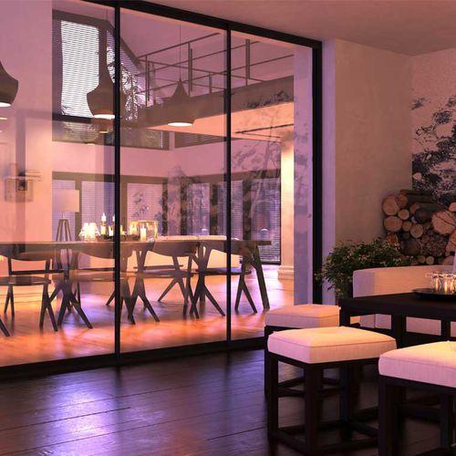 indoor door / two-way / sliding / glass