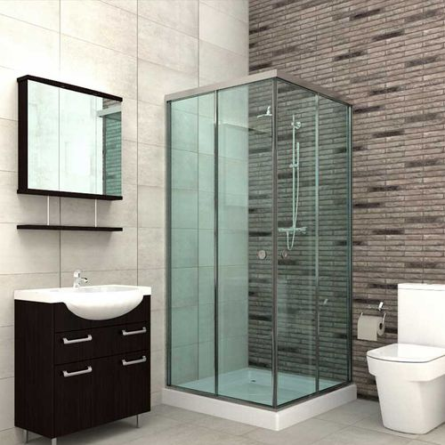 glass shower cubicle / aluminum / corner / with sliding door