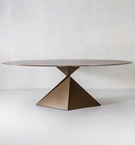 contemporary dining table / steel / brass / bronze