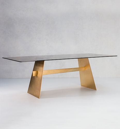 contemporary dining table / glass / steel / rectangular
