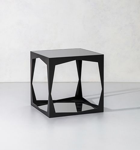 contemporary side table / metal / rectangular
