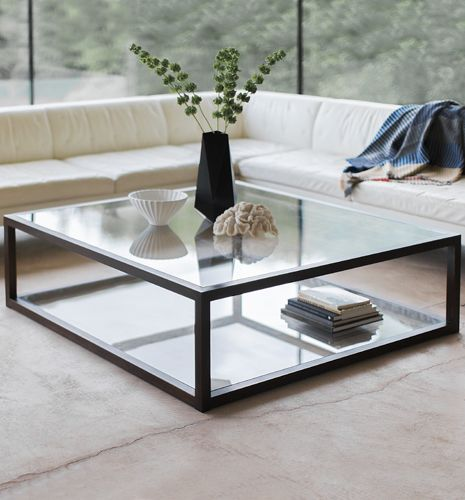 contemporary coffee table / glass / steel / stainless steel
