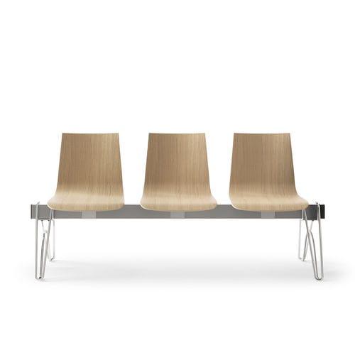 steel beam chair / oak / 3-seater / indoor