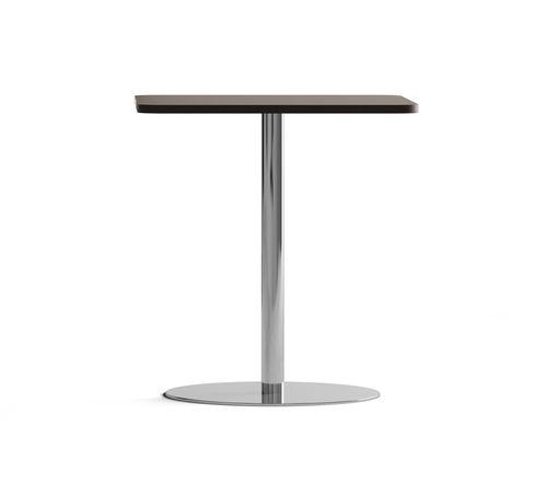 contemporary bistro table / chrome steel / melamine / round
