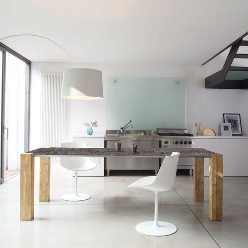 contemporary table / elm / aluminum / rectangular
