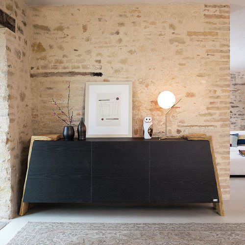 contemporary sideboard / solid wood / ash / glass