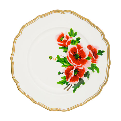 round plate / ceramic / commercial / floral