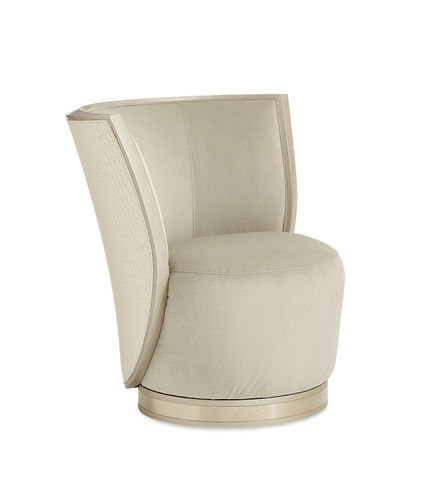 contemporary chair / upholstered / swivel / fabric