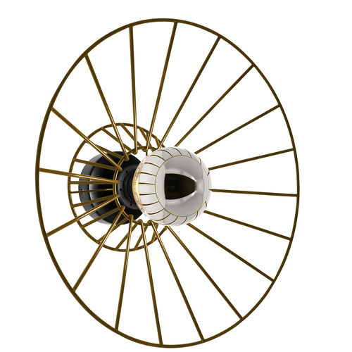 contemporary wall light / brass / LED / round