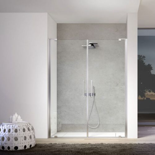 glass shower cubicle / corner / with hinged door