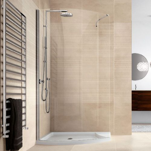 glass shower cubicle / curved / with hinged door