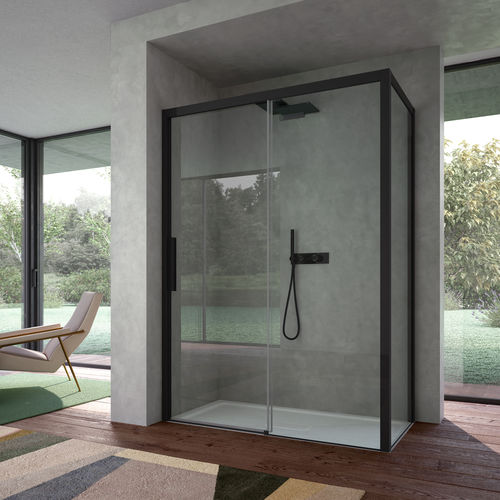 tempered glass shower cubicle / aluminum / for alcoves / with hinged door