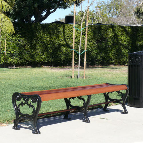 public bench / traditional / hardwood / cast iron