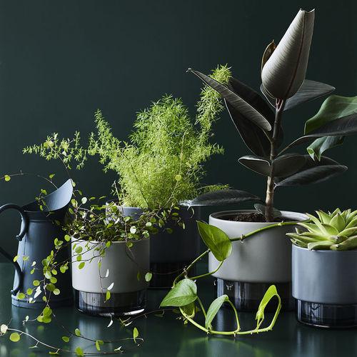 ceramic flower pot / glass / free-standing / round