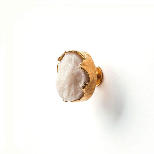 traditional furniture knob / brass / quartz