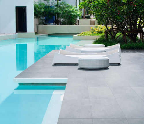 poolside tile / floor / porcelain stoneware / plain