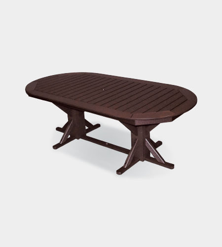 traditional dining table / plastic / oval / outdoor