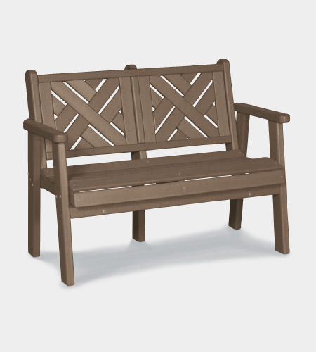 garden bench / traditional / recycled plastic / with backrest