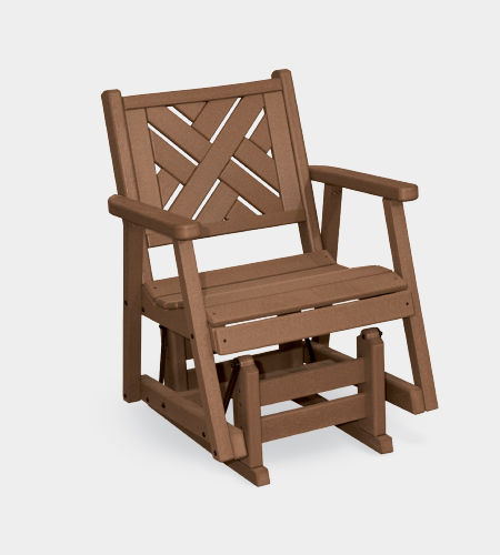 traditional armchair / recycled plastic / rocker / brown
