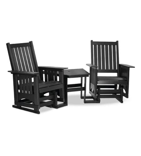 traditional armchair / recycled plastic / with built-in table / black