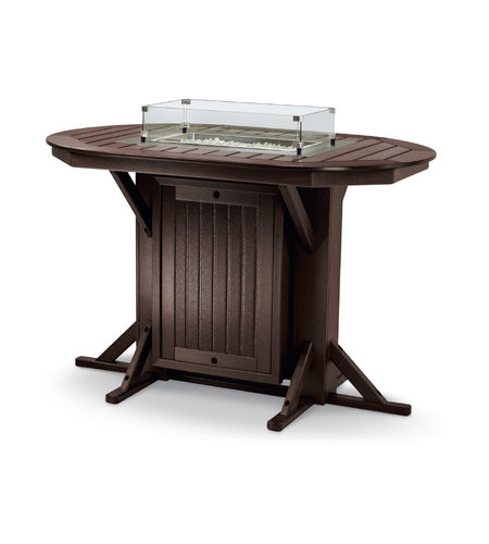 traditional high bar table / recycled plastic / oval / with bioethanol burner