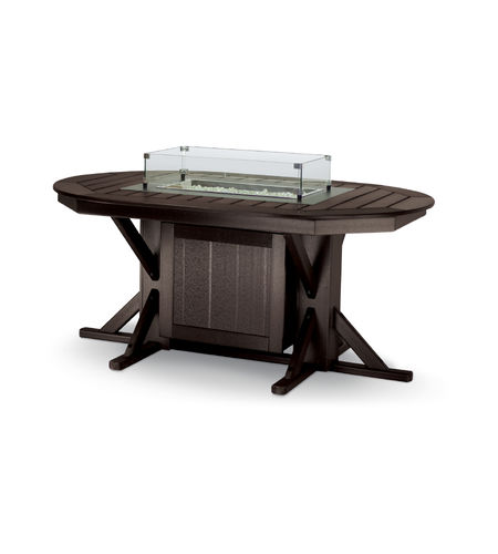 traditional table / recycled plastic / oval / garden