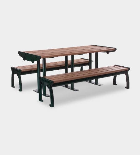 contemporary picnic table / cast aluminum / recycled plastic / rectangular
