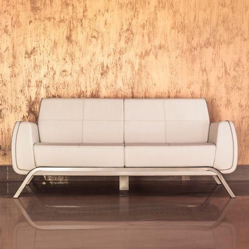 contemporary sofa / outdoor / leather / aluminum