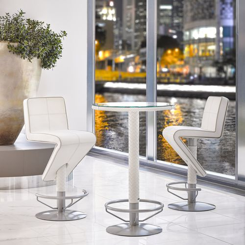 contemporary bar chair / with footrest / leather / aluminum