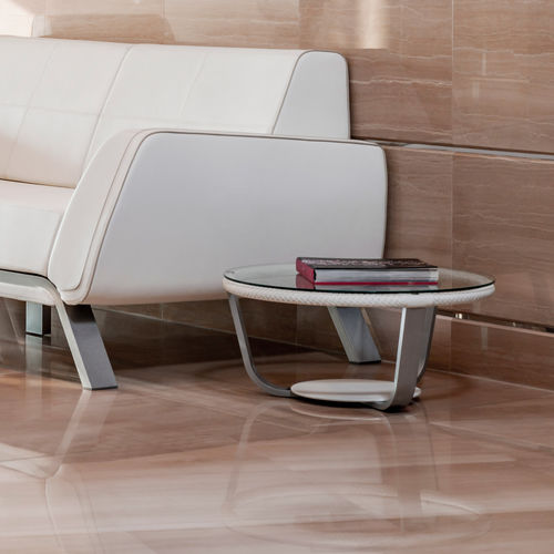 contemporary side table / glass / aluminum / leather