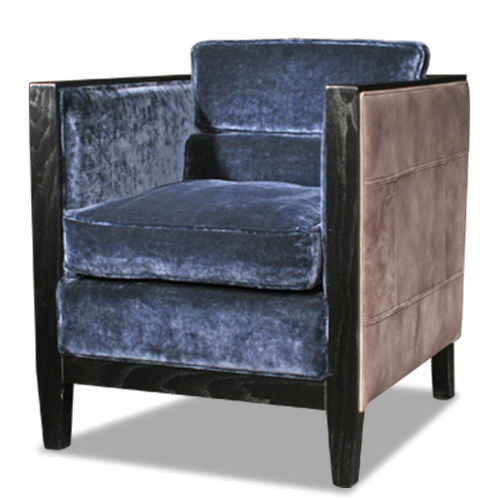 Art Deco armchair / fabric / full-grain leather / wooden