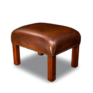 traditional stool / wooden / leather / contract