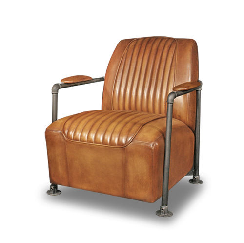 traditional armchair / leather / black / gray