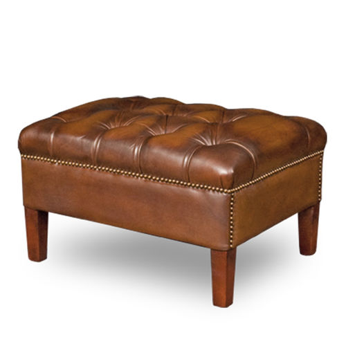 Chesterfield pouf / leather / wooden / upholstered