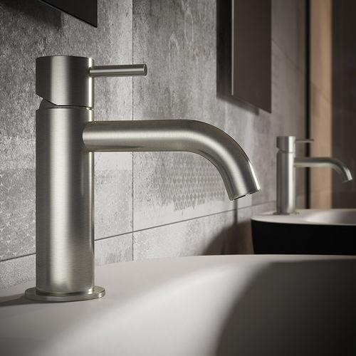 bathroom sink mixer tap / handbasin / deck-mounted / steel
